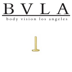 BVLA 14kt Gold Labret Post with Threaded Flat Back Disk 16 gauge 16g Body Vision Los Angeles
