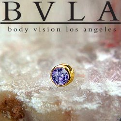"BVLA 14kt Gold 4.0mm Bezel-set Gem Threadless End 18g 16g 14g ""Press-fit"""