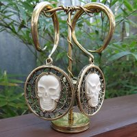 "2 Gauge Brass Ear Weight Hangers with Carved Bone ""Skull"" Medallions (one pair)"