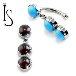 IS Titanium Fixed Top Bezel-set Stone Cabochon Gem Curved Barbell w/ (2) 6mm Dangles 14 gauge 14g