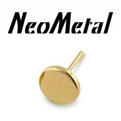 "14 Gauge 14g NeoMetal Threadless 4mm Disk End 14kt 14 Karat Gold ""Press-fit"""