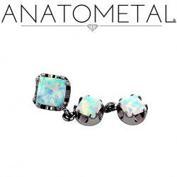 Anatometal Titanium Threaded 4mm Princess-cut Gem End w/ two 3mm Princess-cut Dangles 18 gauge 16 gauge 14 Gauge 12 Gauge 18g 16g 14g 12g