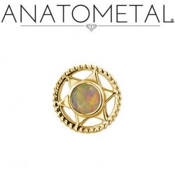 Anatometal 18Kt Gold Threaded Vice End 3mm Gem 18g 16g 14g 12g