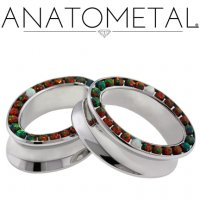 "Anatometal Surgical Steel Ellipse Multi Gem Bling Eyelet Tunnel 5/8"" to 2"""