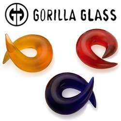 "Gorilla Glass Barb 8 gauge to 1"" Glass Ear Weight (Pair)"