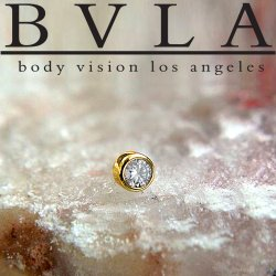"BVLA 14kt Gold Bezel-set VS1 Diamond 2mm 2.25mm 2.5mm 3mm Threadless End 18g 16g ""Press-fit"""
