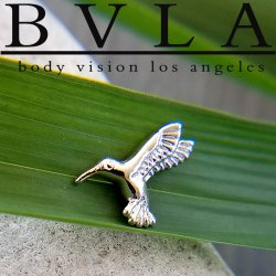"BVLA 14Kt Gold ""Hummingbird"" Threaded End Dermal Top 18g 16g 14g 12g Body Vision Los Angeles"