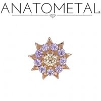 "Anatometal 18kt Gold Miro Starburst Threadless End 18 Gauge 18g ""Press-fit"""