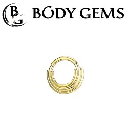 "Body Gems 14kt Gold ""Three Ring Circus"" Clicker Septum Daith Ring 16 Gauge 16g"
