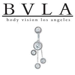 BVLA 14kt Gold Valencia CZ Navel Curved Barbell 14 gauge 14g Body Vision Los Angeles