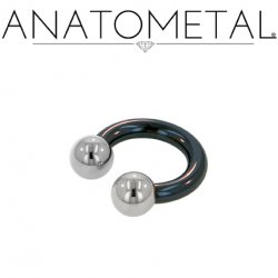 Anatometal Niobium Circular Barbell with Steel Ball Ends 4 Gauge 4g