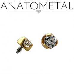 Anatometal 18kt Gold Threaded 2.5mm Prong-set Faceted Gem End 18g 16g 14g 12g