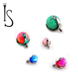 Industrial Strength Titanium 3 Prong Synthetic Opal 2mm 3mm 4mm 5mm 6mm Gem End 18g 16g 14g 12g
