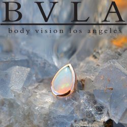 "BVLA 14kt Gold Bezel-set Pear Cabochon 5mm x 3mm Threadless End 18g 16g 14g Body Vision Los Angeles ""Press-fit"""