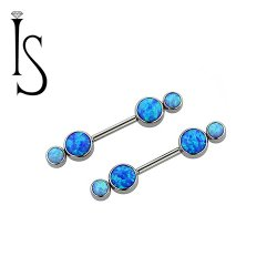 Industrial Strength Titanium Barbell Gemini Forward Facing Bezel-set Faux-pal Cabochon Gems 14 Gauge 12 Gauge 14g 12g