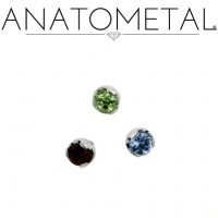 "Anatometal Titanium Threadless 2mm Prong-set Faceted Gem End 18 Gauge 18g ""Press-fit"""