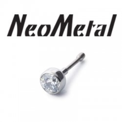 "16 gauge 16g NeoMetal Threadless Titanium Bezel-Set Faceted Gem 2.0mm ""Press-fit"""