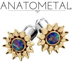 Anatometal Gold Sinflower Surgical Steel Eyelet Ear Gauge 6 Gauge 4 Gauge 2 Gauge