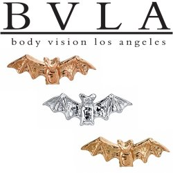 "BVLA 14kt Gold ""Bat"" Threaded End Dermal Top 18g 16g 14g 12g Body Vision Los Angeles"