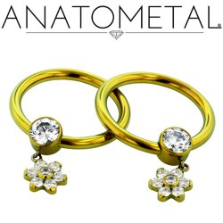 Anatometal Titanium Bezel Gem Captive Bead Ring with 5.5mm Flower Dangle 12g 12 Gauge