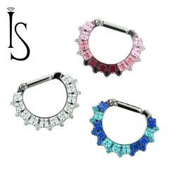 "Industrial Strength Odyssey ""Aphrodite"" Titanium Septum Clicker W/ Princess-cut and Round Faceted Gems 16g 14g 12g"