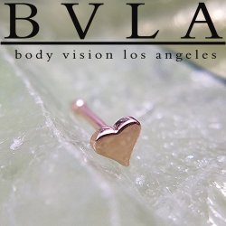 BVLA 14kt Gold Flat Tiny Heart Nostril Screw Nose Bone Stud Nail Ring 20g 18g 16g Body Vision Los Angeles
