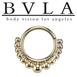 "BVLA 14kt Gold ""Graduating Latchmi"" Nose Nostril Septum Ring 16 Gauge 16g Body Vision Los Angeles"
