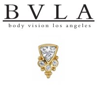 "BVLA 14Kt Gold ""Sarai"" Trillion Threaded End Dermal Top 18g 16g 14g 12g Body Vision Los Angeles"