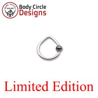 "Body Circle Surgical Stainless Steel 7/16"" Triangle Captive Bead Ring with Hematite Bead 16 Gauge 16g"