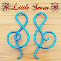 "Little Seven Niobium Small ""Shakti\"" Spirals 12 Gauge 12g (Pair)"