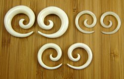 Organic Water Buffalo Bone Spirals 12g-0g (Pair) 2mm-8mm