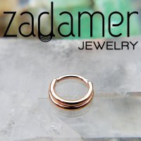 Zadamer 14Kt Gold Double Stacked Septum Daith Seam Ring 16 Gauge 16g