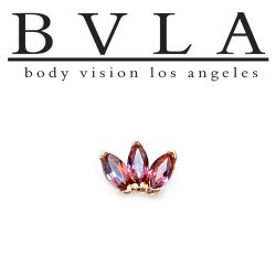 BVLA 14kt Gold Marquise Fan 4mm x 2mm Gems Threaded End Dermal Top 18g 16g 14g 12g Body Vision Los Angeles