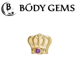 Body Gems 14kt Gold Monarch Crown Threaded End Dermal Top 18 Gauge 16 Gauge 14 Gauge 12 Gauge 18g 16g 14g 12g