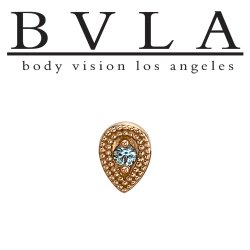"BVLA 14kt Gold ""Double Pear Harlequin"" 7mm Threaded End Dermal Top 18g 16g 14g 12g Body Vision Los Angeles"