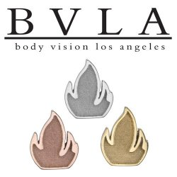 "BVLA 14Kt Gold ""Relief Flame"" Threadless End 18g 16g 14g ""Press-fit"""