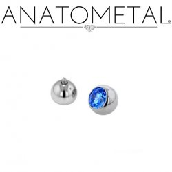 Anatometal Surgical Steel Threaded Gem Ball End 14 gauge 12 gauge 14g 12g