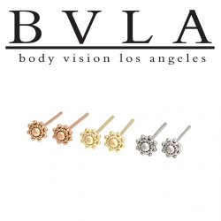"BVLA 14kt Gold ""Ares"" Nostril Screw Nose Bone Nail Ring Stud 20g 18g 16g Body Vision Los Angeles"
