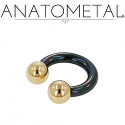 Anatometal Niobium Circular Barbell with Titanium Ball Ends 4 Gauge 4g