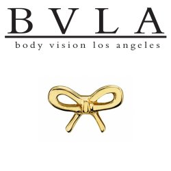"BVLA 14kt Gold Flat Bow Threadless End 18g 16g 14g ""Press-fit"""
