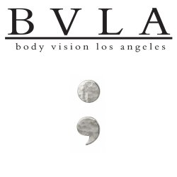 "BVLA 14Kt Gold Hammered ""Semicolon"" Threaded End Dermal Top 18g 16g 14g 12g Body Vision Los Angeles"