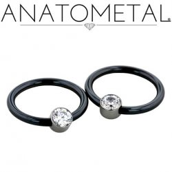 Anatometal Niobium Captive Gem Bezel Ring 12 Gauge 12g