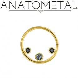 Anatometal 18kt Gold Seam Ring with 3 Gems Inside 2mm 3mm 2mm 16 Gauge 16g