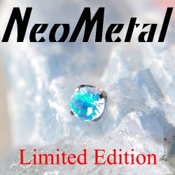 "18 Gauge 18g NeoMetal Limited Ed. Threadless Titanium Prong-set Faceted Water Opal Gem End 2.0mm ""Press-fit"""