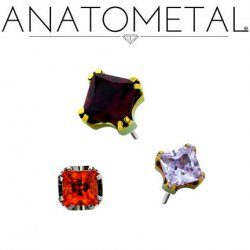 "Anatometal Titanium Threadless Prong-set 3mm 4mm 6mm Princess Cut Gem End 18 gauge 18g ""press-fit"""