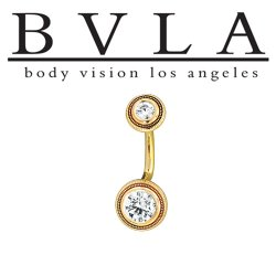 BVLA 14kt Gold Aragon CZ Navel Curved Barbell 14 gauge 14g Body Vision Los Angeles