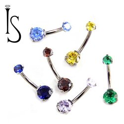 IS Titanium Navel Curve Belly Button Ring Barbell 3 Prong-set Faceted Gem 14 Gauge 14g Industrial Strength
