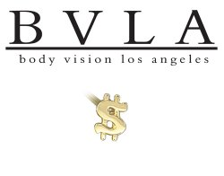 BVLA 14kt Yellow White Rose Gold Greenback Dollar Sign $ 3mm X 5mm Nostril Screw Nose Bone Nail Ring Stud 20g 18g 16g Body Vision Los Angeles