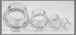 Glasswear Pyrex Glass Double Flare Clear Eyelets Pair 8g - 3""