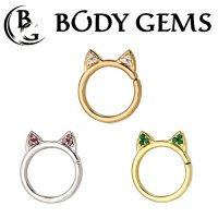 Body Gems 14kt Gold Meow Ring with 1mm Gems 16 Gauge 14 Gauge 16g 14g